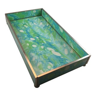 Coastal Colors Marbled Desk Tray - Green For Sale