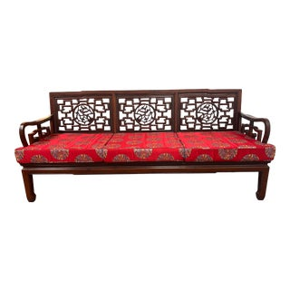 Asian Rosewood 3-Steater Sofa + Cushions For Sale