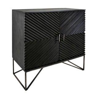 Black Geometric Wood Two Door Cabinet