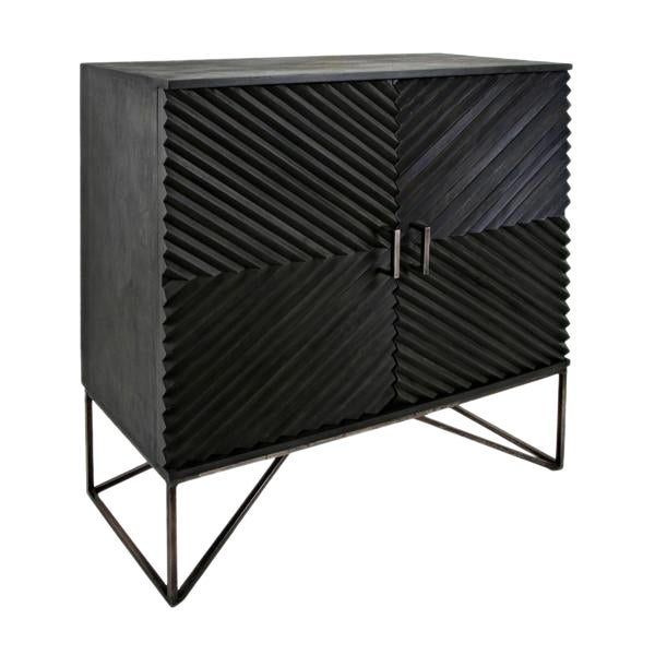 Black Geometric Wood Two Door Cabinet - Image 1 of 12