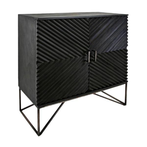 Black Geometric Wood Two Door Cabinet For Sale