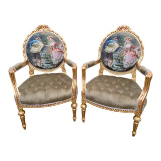 1900's Vintage French Louis XVI Velvet With Gobelin Chairs - a Pair For Sale