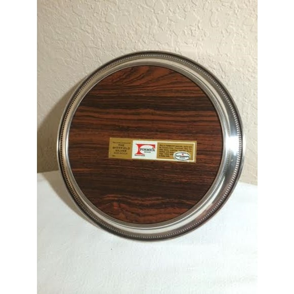 Sheffield Vintage Sheffield Silver Formica Round Tray For Sale - Image 4 of 4