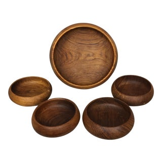 Set of 5 MCM Hardwood Bowls