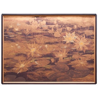 Monumental Wall Art Lyn Howley Water Lilies Lithograph on Board For Sale