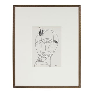 Surrealist Abstracted Portrait in Graphite, Framed For Sale