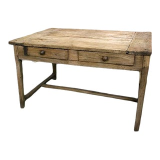 English Sycamore and Pine Two Drawer Table With and Single Stretcher For Sale
