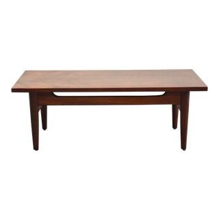 Walnut Mid Century Coffee Table For Sale