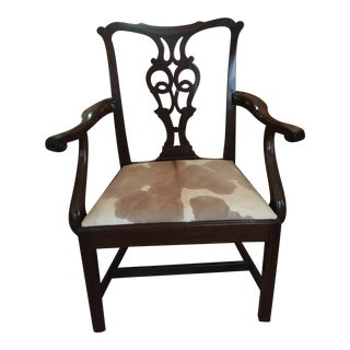 Carved Back Wood With Cowhide Seat Chair For Sale