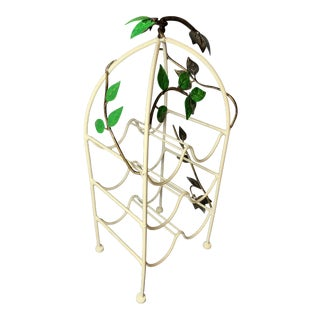 Vintage Hand Painted Tole Wine Rack With Grape Vine Leaf Design For Sale