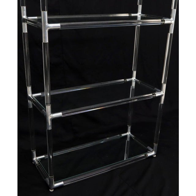 Lucite and Aluminum Mid-Century Modern 5-Tier Etagere Vitrine Shelving Unit For Sale - Image 9 of 13