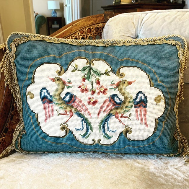 Metal Vintage Bird Motif Needlepoint Pillow For Sale - Image 7 of 7
