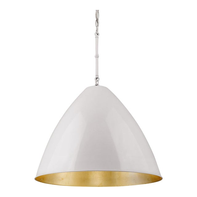 Lenox 1 Light Rod Pendant, Ceramic White and Gold Leaf For Sale