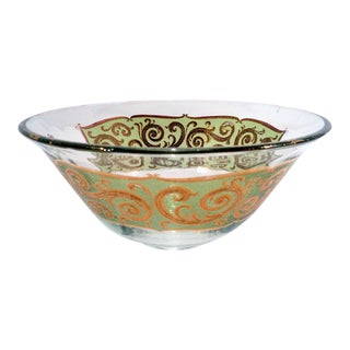 1960's Culver Green & Gold Paisley Punch Bowl For Sale