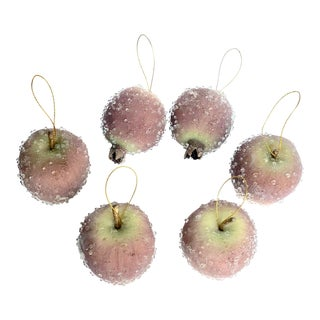 Maximalist Decorative Sugared Pomegranates & Apples - Set of 6 For Sale