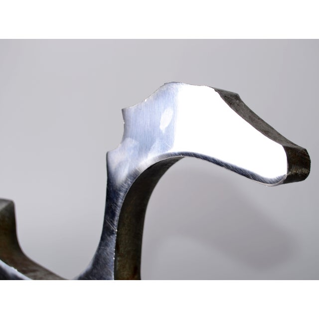 Silver Abstract Stainless Steel Dinosaur Sculpture For Sale - Image 8 of 9