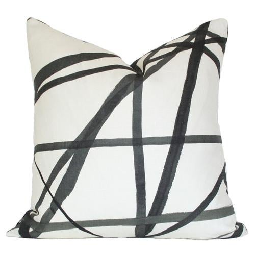 Contemporary Lee Jofa Channels Ebony & Ivory Pillow Cover For Sale - Image 3 of 3