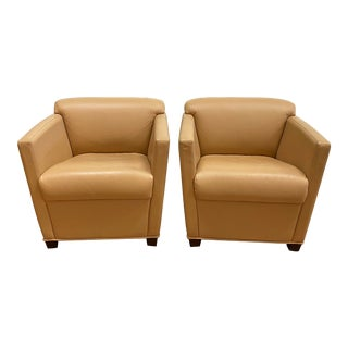 Brayton International Leather Club Chairs - a Pair For Sale