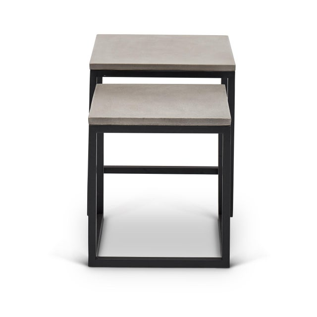 Mid-Century Modern Stax Nesting End Table (Set of 2), Dark Grey, Black For Sale - Image 3 of 4
