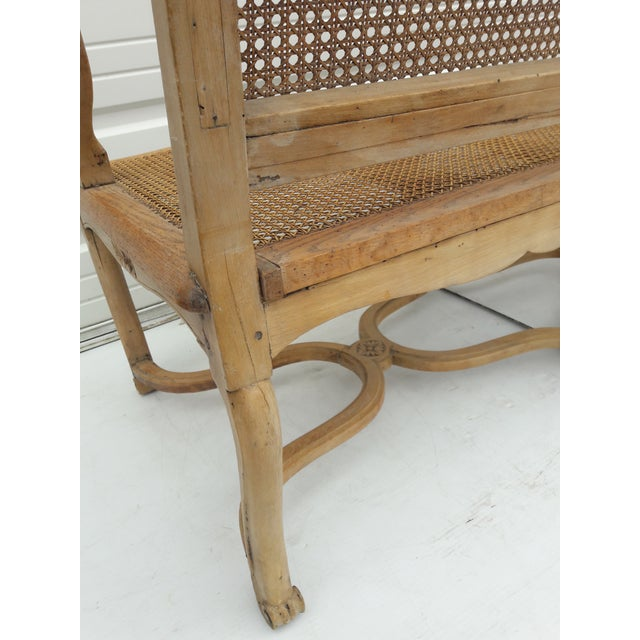 Antique French Caned Three Seat Louis XV Style Settee French Provincial Long Caned Canape For Sale - Image 9 of 13