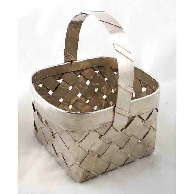 Vintage Sterling Silver Woven Basket With Handle For Sale - Image 9 of 9