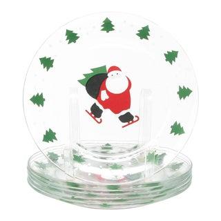 Vintage Arcoroc France Ice Skating Santa Glass Salad Plates - Set of 6 For Sale
