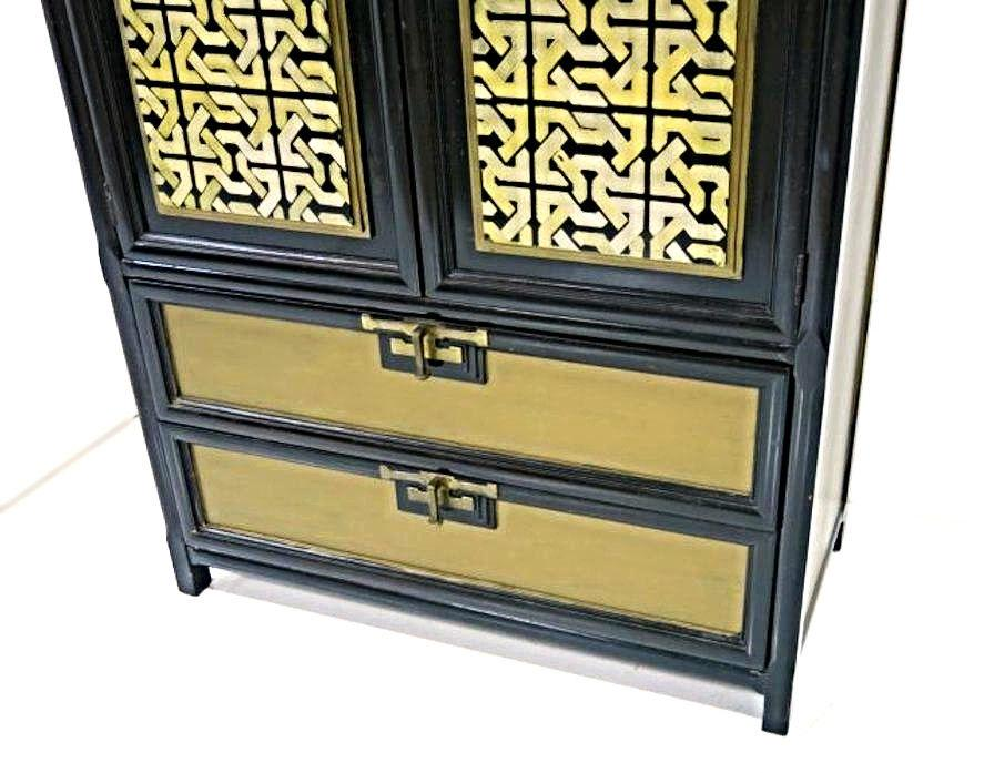 Gold Black Lacquer Armoire   Image 3 Of 11