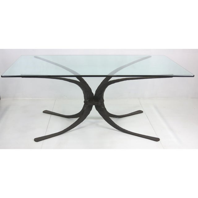 Brutalist Forged Iron Dining Table or Desk by Sculptor/Blacksmith Stephen Bondi of the renowned Bondi Metals. This large...