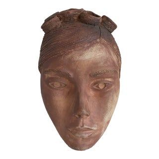 Vintage Artisan Sculptural Head Wall Art For Sale