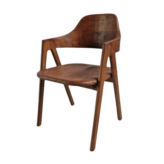 Elm Wood Deco Dining Chair For Sale