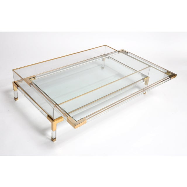 Gold Vintage 1970s Sliding Glass Top Coffee Table Attributed to Maison Jansen For Sale - Image 8 of 13