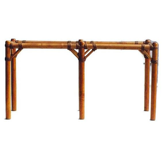 Vintage safari campaign sofa table console table smokey for Sofa table 50 inches