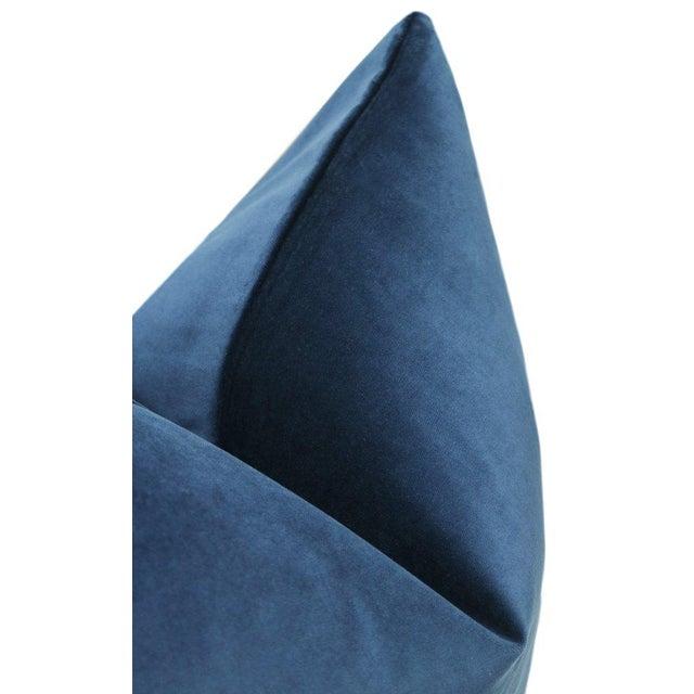 """22"""" Cadet Blue Velvet Pillows - a Pair For Sale - Image 4 of 5"""