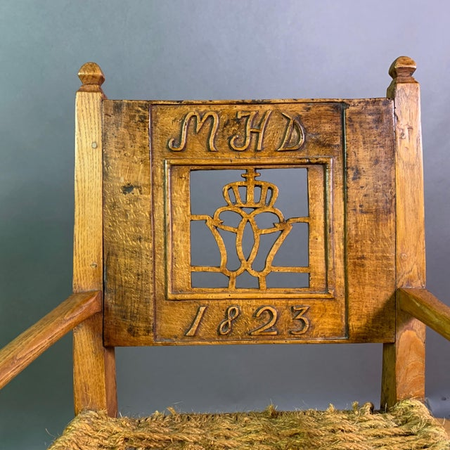 Brown 1823 Danish Carved Pine and Rope Armchair, Crowned Monogram For Sale - Image 8 of 12