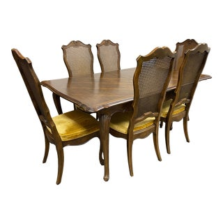 Late 20th Century French Cane + Six Velvet + Caned Chairs Dining Set For Sale