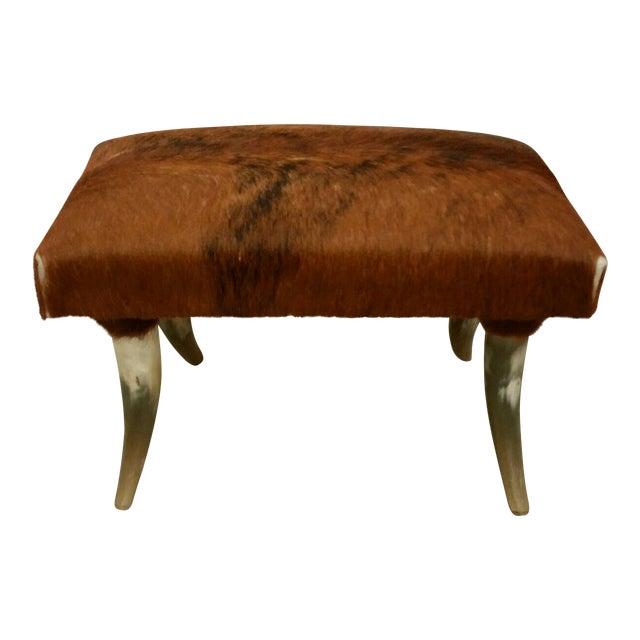 Longhorn Hide Ottoman For Sale