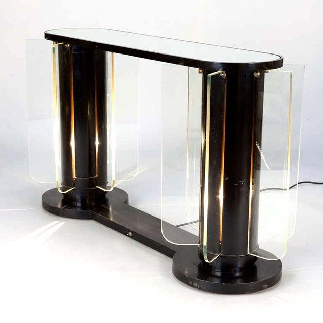 French Art Deco Ebonized Mirror Top Illuminated Console - Image 3 of 5