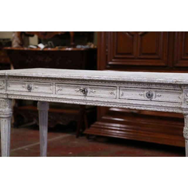 19th Century French Louis XVI Carved Painted Table Console For Sale - Image 10 of 13