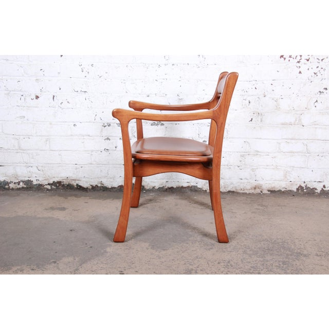 1960s Sculpted Solid Teak and Leather Studio Crafted Club Chairs - a Pair For Sale - Image 11 of 13