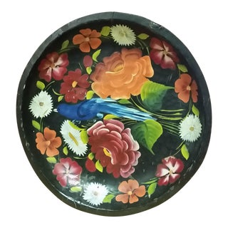Vintage Mexican Folk Art Wood Floral Hanging Plate For Sale