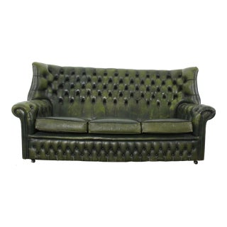 Green Wingback Tufted Chesterfield For Sale