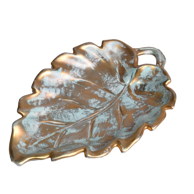 Stangl Stangl Gold Leaf Ceramic Catchall Bowl For Sale - Image 4 of 9