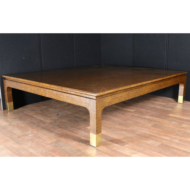 Raffia Covered Coffee Table by Harrison Van Horn For Sale - Image 7 of 11