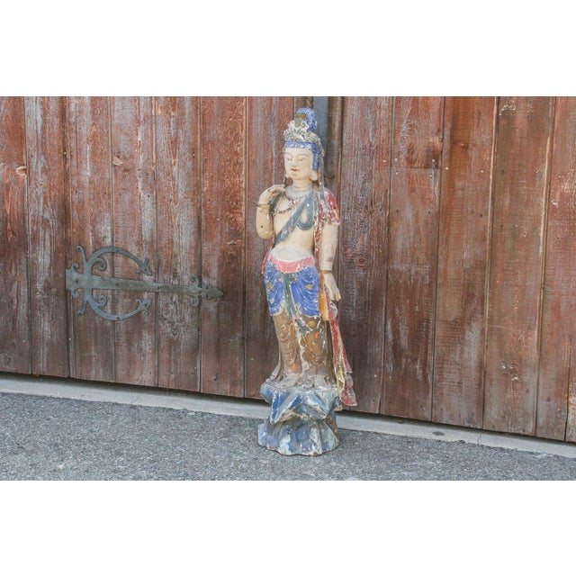 Asian Antique Polychrome Quand-Yin Statue For Sale - Image 3 of 11