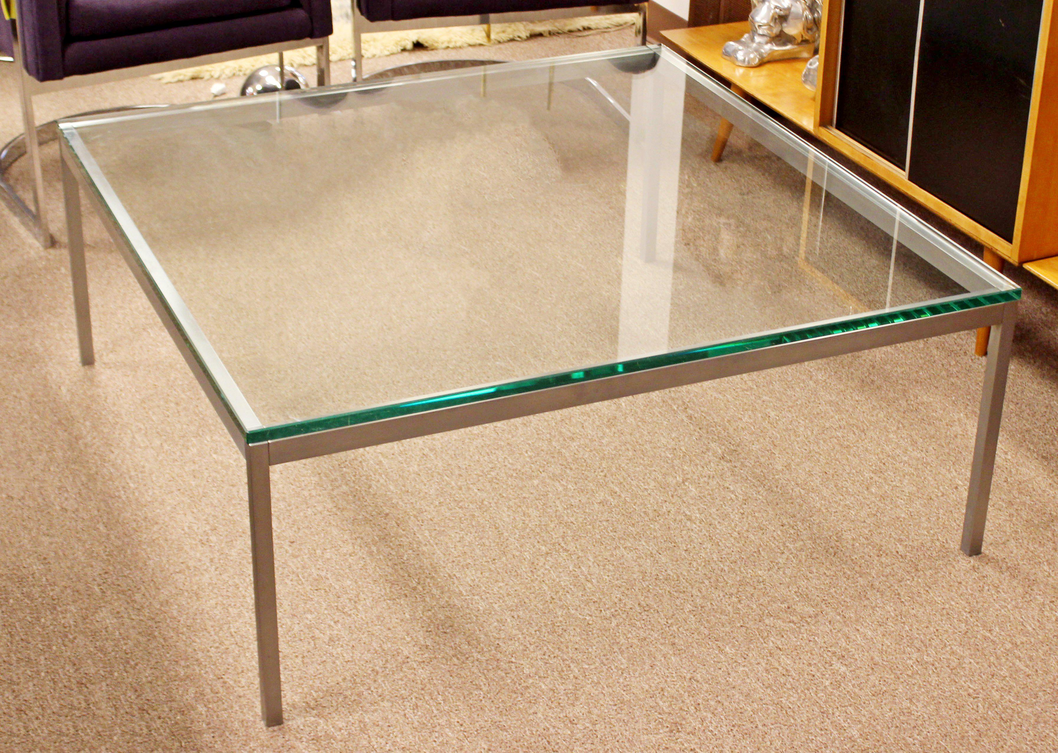 Mid Century Modern Original Vintage Large Knoll Metal Glass Square Coffee  Table   Image 3 Of
