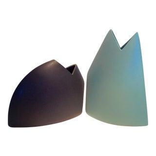 J. Johnston Modernist Ceramic Sculptural Vases - A Pair
