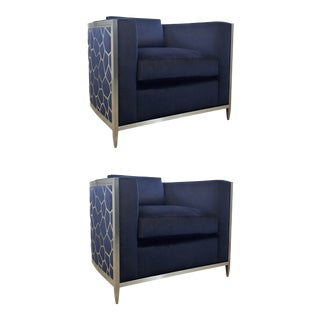 Caracole Couture Modern Indigo Blue Velvet Ice Breaker Club Chairs Pair For Sale