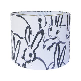 Black and Ivory White Rabbit Lamp Shade For Sale