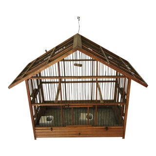 1920s Early American Pine Bird Cage