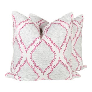 Grey & Raspberry Ogee Pillows - A Pair